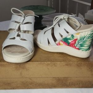 Born White Leather Tropical Sandals